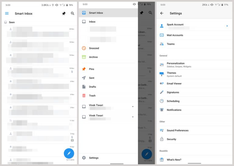 Spark für Android - Posteingang Alternative