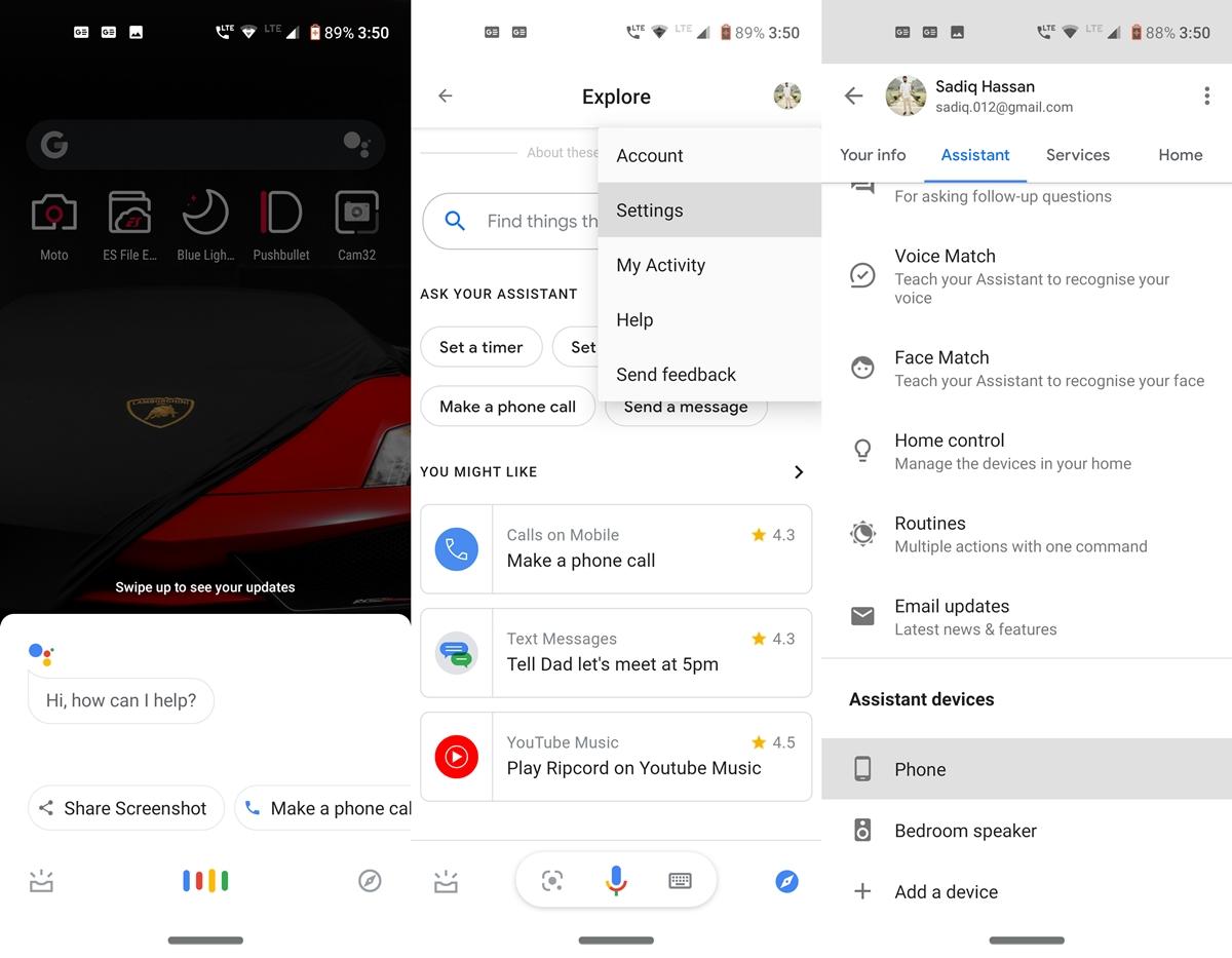 Google Assistant-Optionen