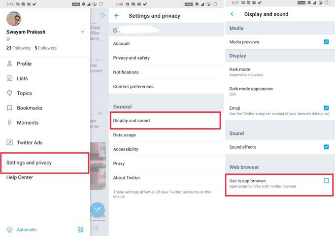 Deaktivieren Sie den In-App-Browser von Twitter und Facebook