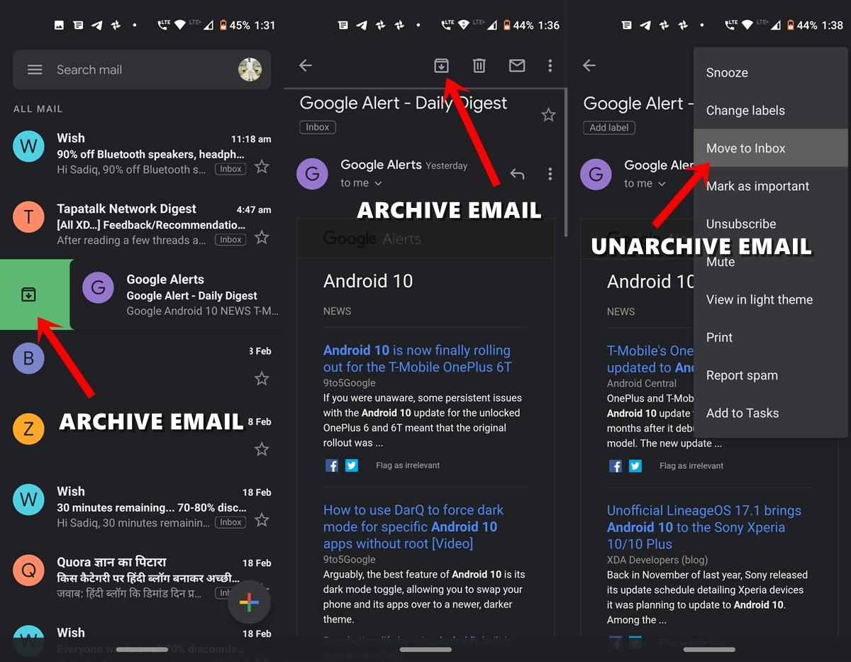 Archivieren Sie Google Mail