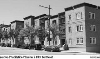 Photo de plusieurs anciens immeubles à logement: La coopérative d'habitation l'Escalier à l'îlot Berthelot