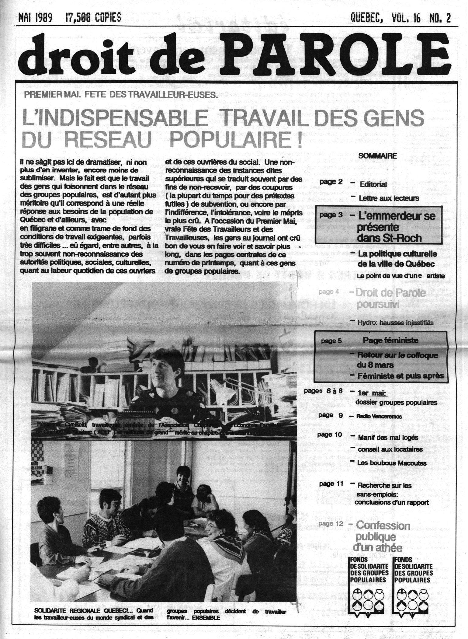 La une de Droit de parole  en mai 1989.