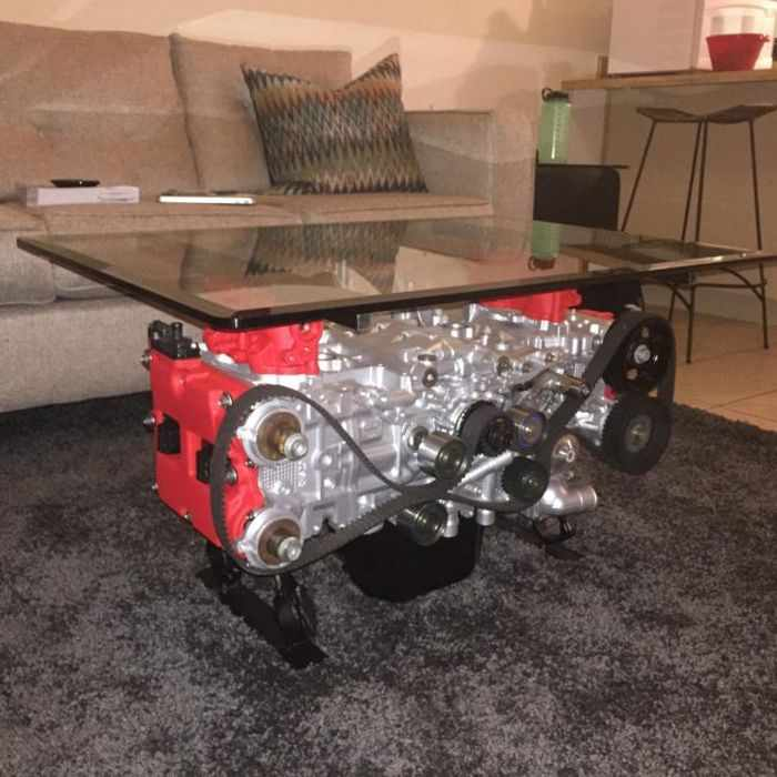 This Guy Turned His Smashed Car's Engine Into An Epic Coffee Table -17