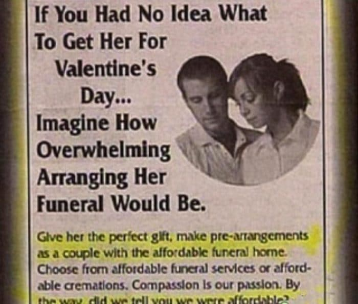 WTF Valentines day funearal gift