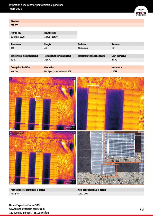 inspection centrale photovoltaïque drone rapport thermique