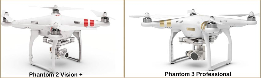 Phantom 2 Vision + (l) and Phantom 3 Pro (r)
