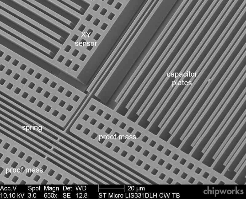 Interior of a MEMS chip, showing the many mechanical fingers
