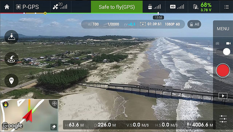 Information (Telemetry) displayed in DJI GO App Screen