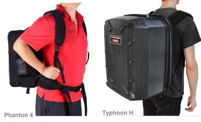 Size Matters - Backpacks for Phantom (left) and Typhoon (right).