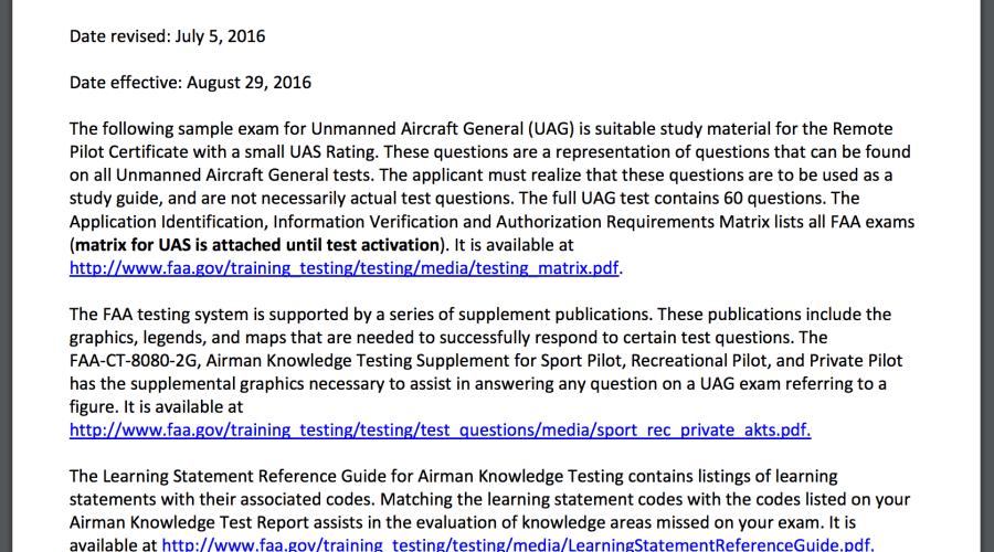 written drone test practice questions