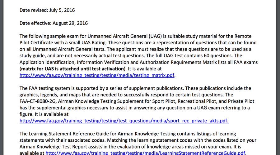 written drone test practice questions