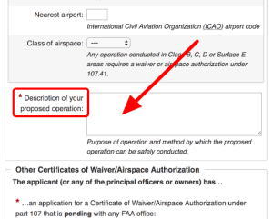 description of your proposed operation faa airspace authorization waiver form