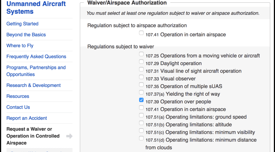 FAA Waiver Flying Over People
