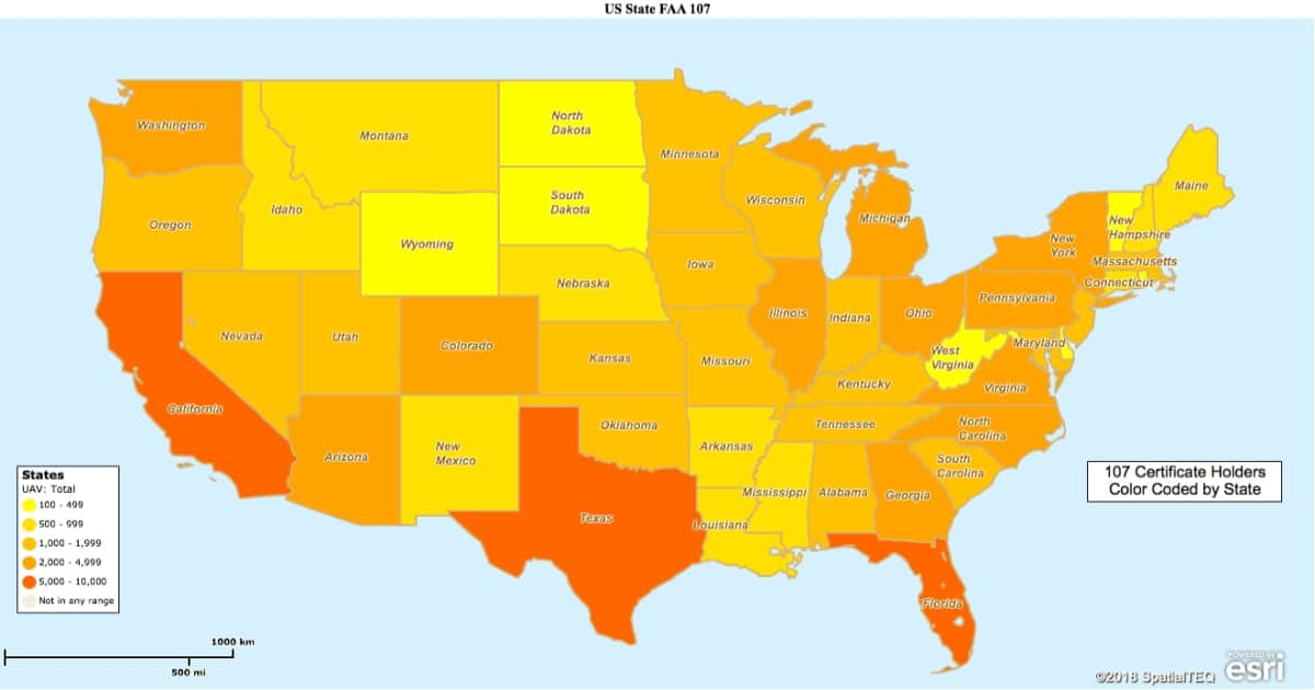 US State FAA Part 107 Holders