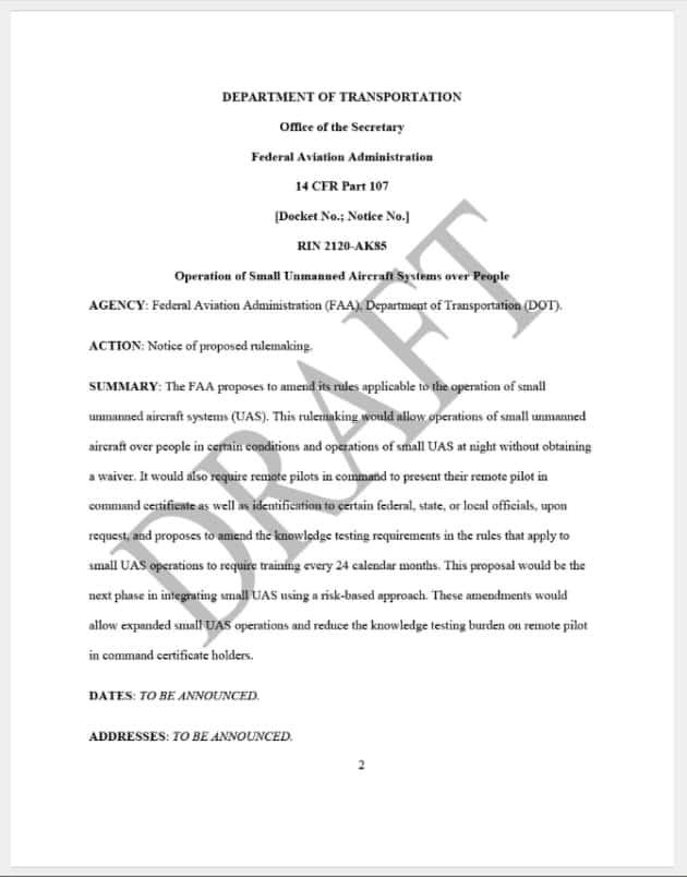 FAA Draft NPRM Part 107