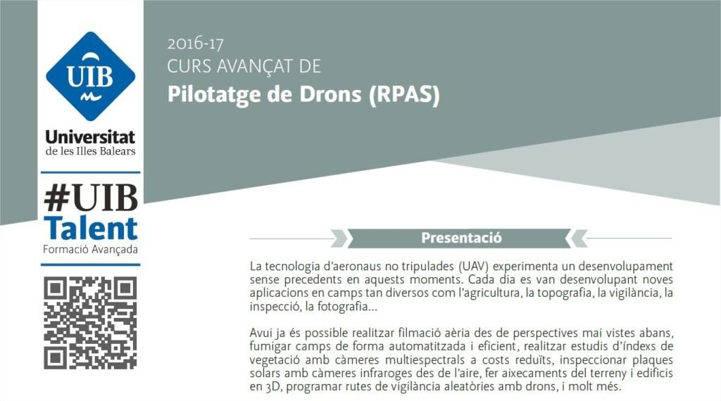 Captura del folleto del curso de piloto RPAS