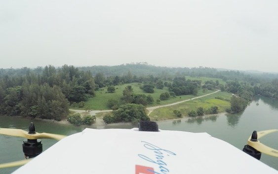Drone flies over sea to deliver Singapore Post package