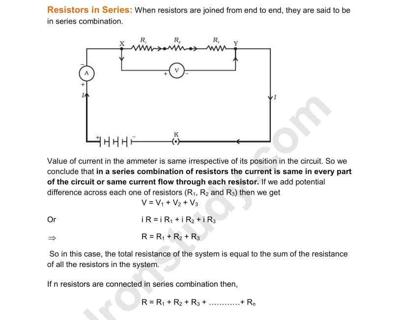 Electricity - Class 10 Science Notes - DronStudy com