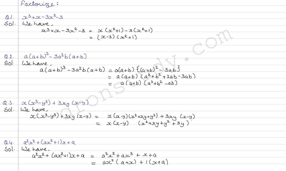 Factorization of Algebraic Expression : Ex 5 1 (R D Sharma