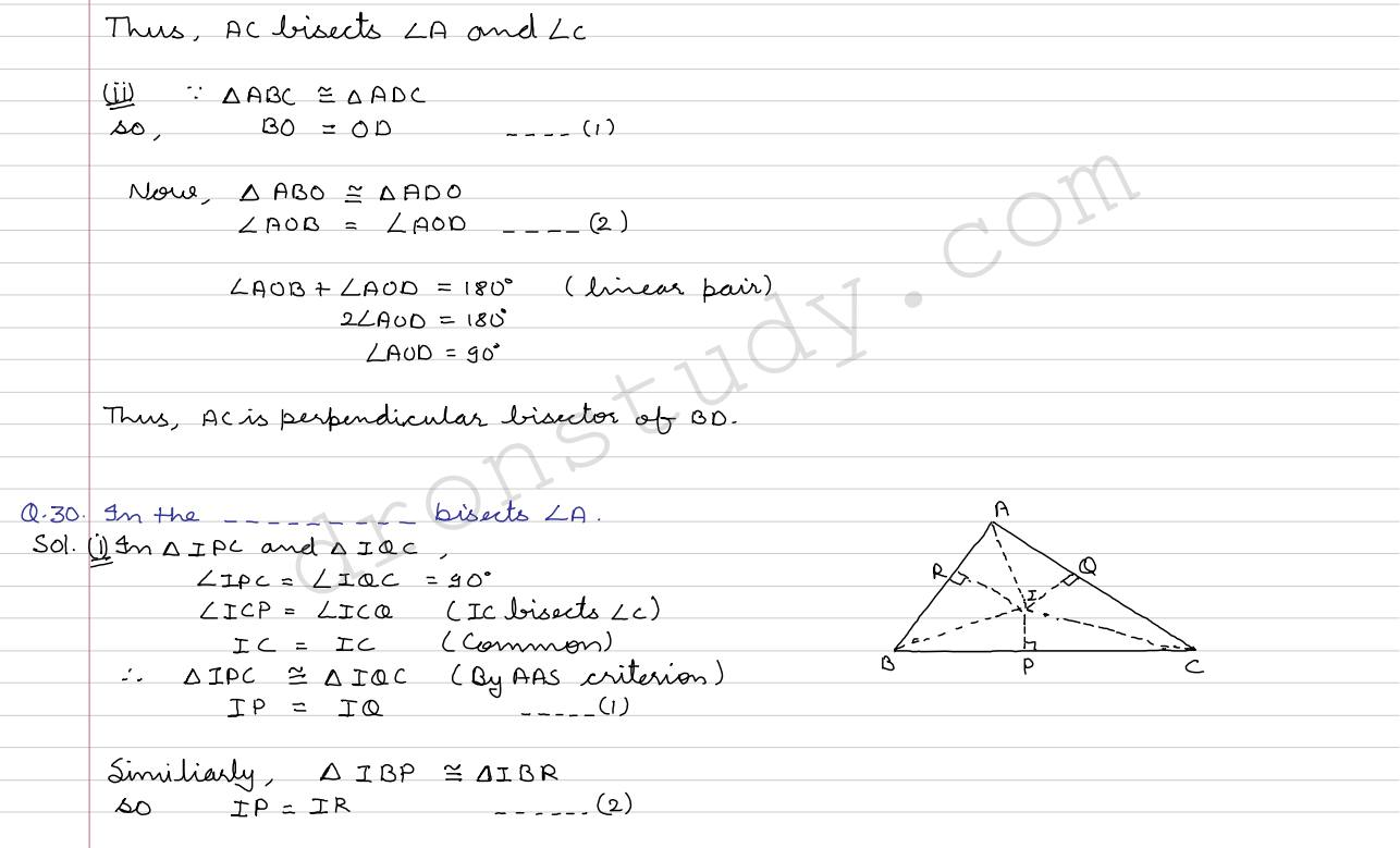 Congruence Of Triangles And Inequalities In A Triangle