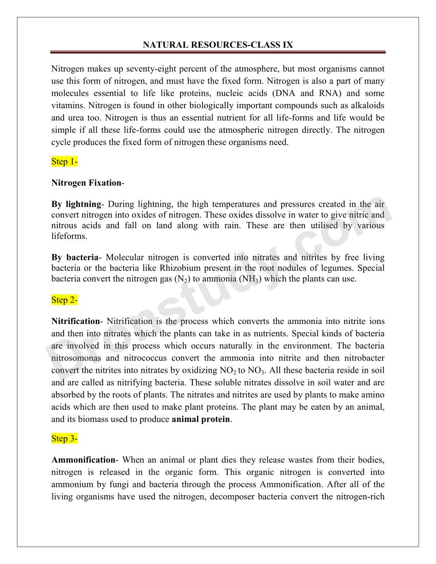 Natural Resources : Chapter Notes - DronStudy com