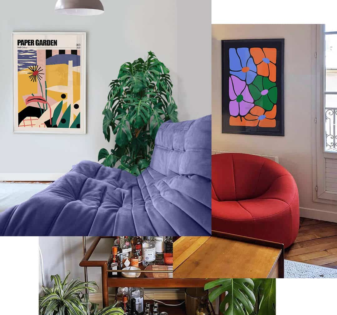 Cool Contemporary Art Posters hung on Living Room walls