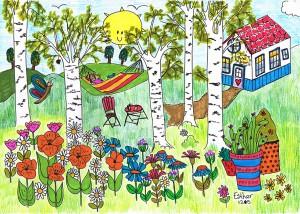 Zomerkleurplaat ingekleurd door Esther van der Ham