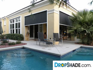 DROPSHADE Patio Drop Shades Motorized Solar Screens And