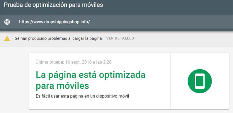 web optimizada para móvil