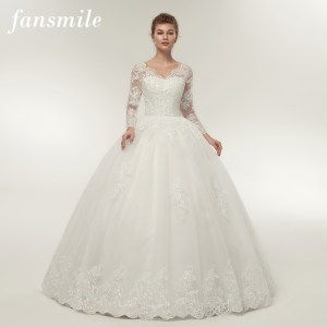 8281ff8e6a52 Fansmile Quality Vintage Lace Up Wedding Dresses Long Sleeve 2017  Customized Plus Size Bridal Ball Gown Robe de Mariage FSM-140F