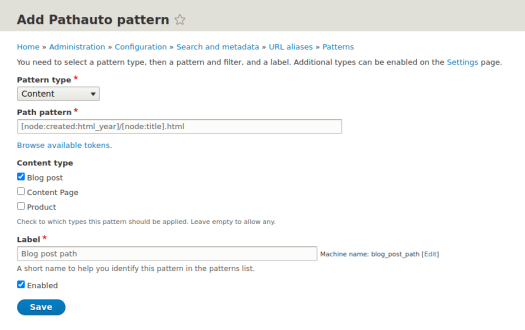 Adding a new URL address template in the configuration panel of Pathauto Drupal module
