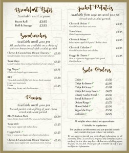 Drovers Inn Sandwich Menu