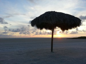 relaxing sunset photo of chikee hut
