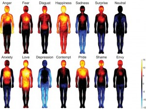 Bodily topography of basic (Upper) and complex (Lower) emotions associated with words. The body maps show regions whose activation increased (warm colors) or decreased (cool colors) when feeling each emotion.