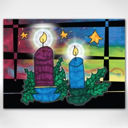 Create Light front of card design: Two lit candles inside a window frame with three stars and a vibrant sky background.