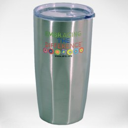 "Stainless steel tumbler with the words ""Embracing the Difference™"" and ""www.drtc.org."""