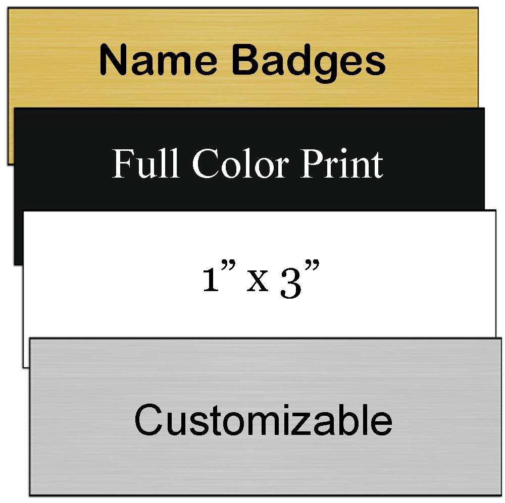 Name badge/plate samples