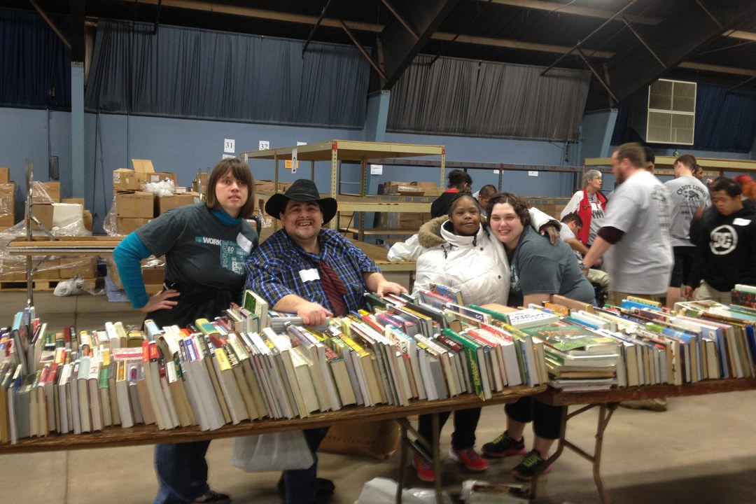 Friends of the Library volunteering