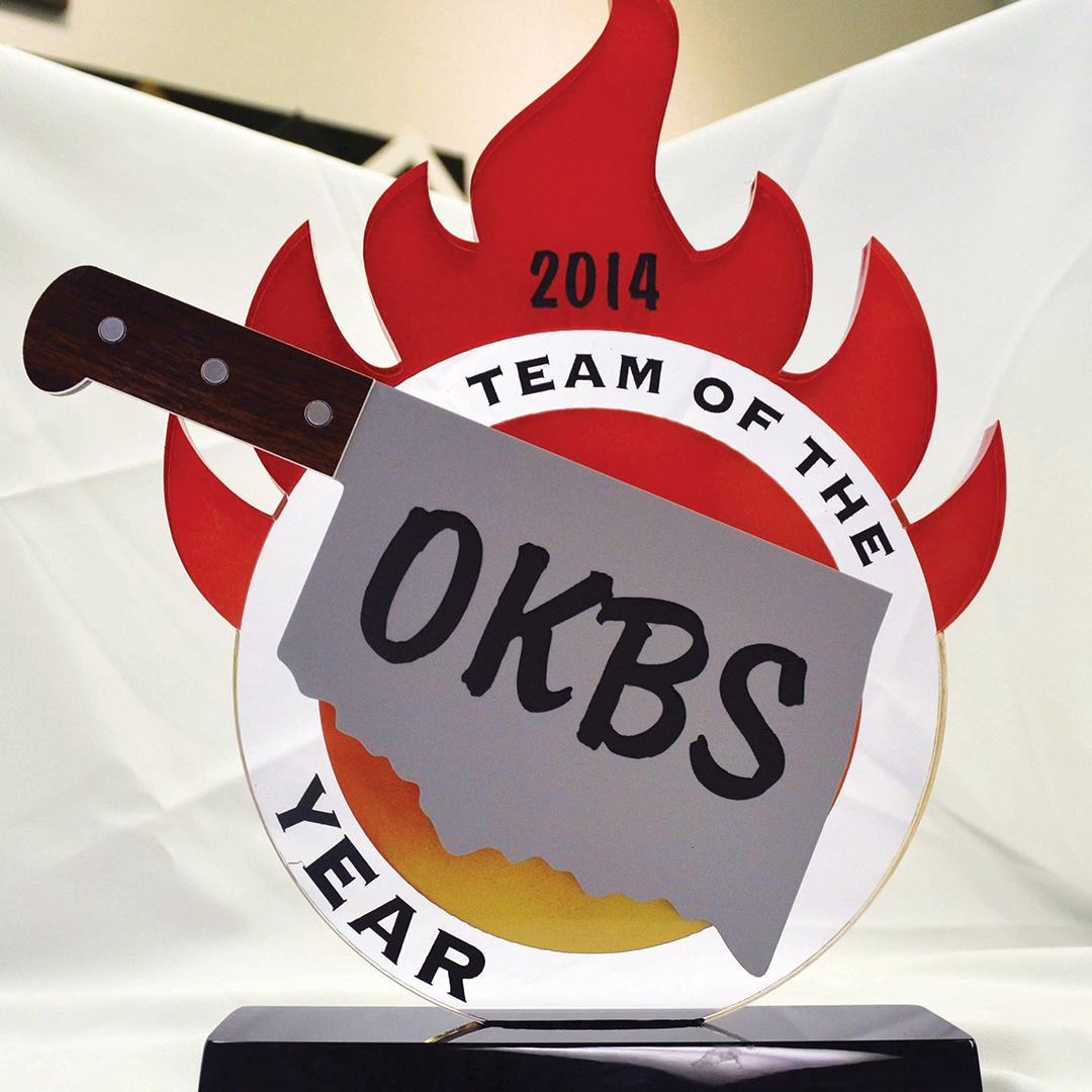 Custom acrylic award for Oklahoma Barbecue Society
