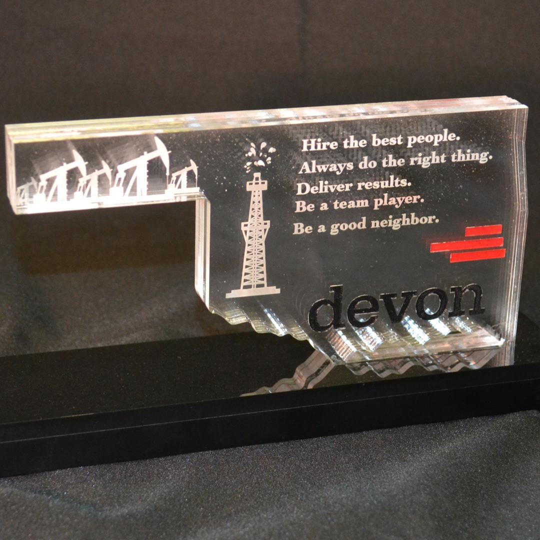 Oklahoma-shaped acrylic award with engraving.