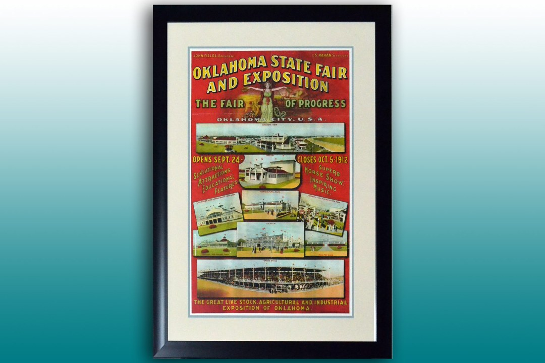 Framed Oklahoma State Fair poster from 1912.