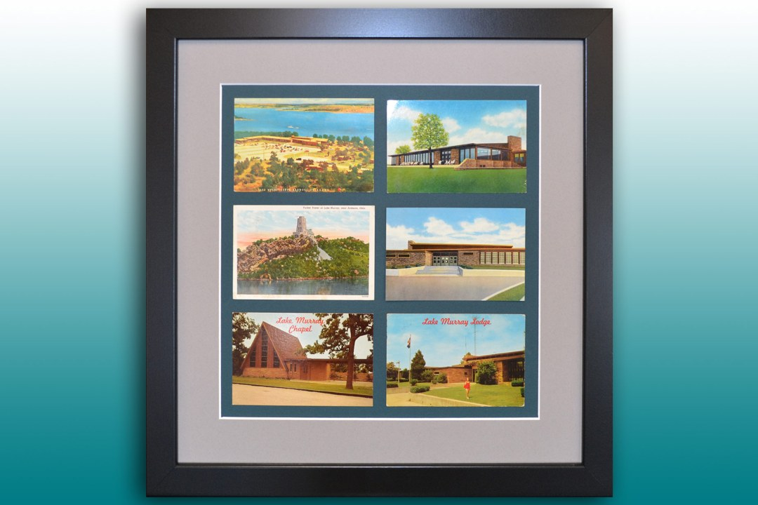 Six postcards from Lake Murray framed at DRTC Picture Frames.