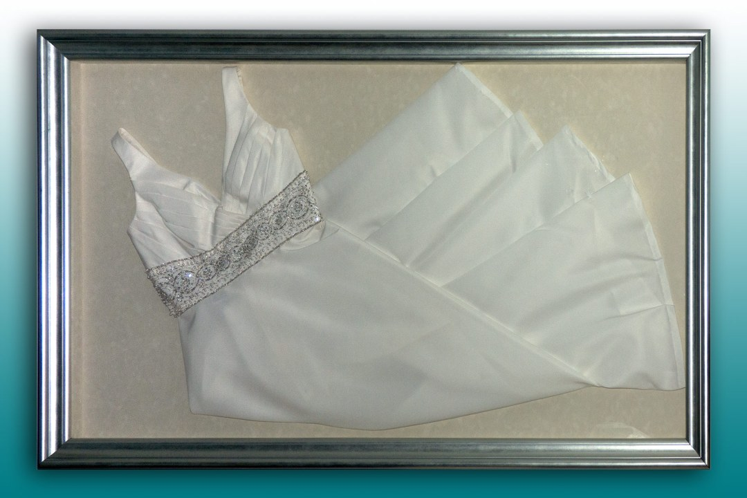 Wedding dress framed at DRTC picture frames.