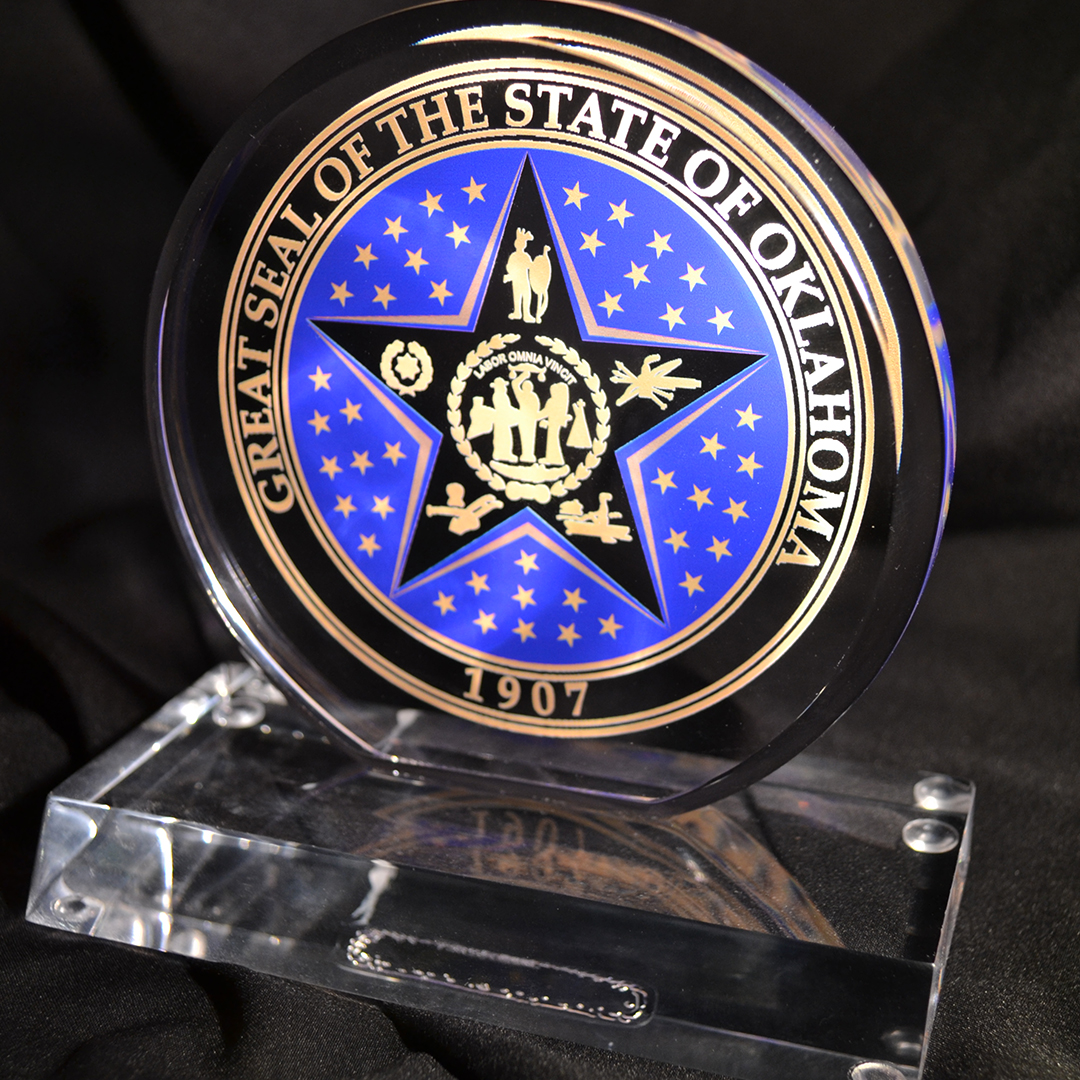 Oklahoma State Seal full color printed acrylic award.