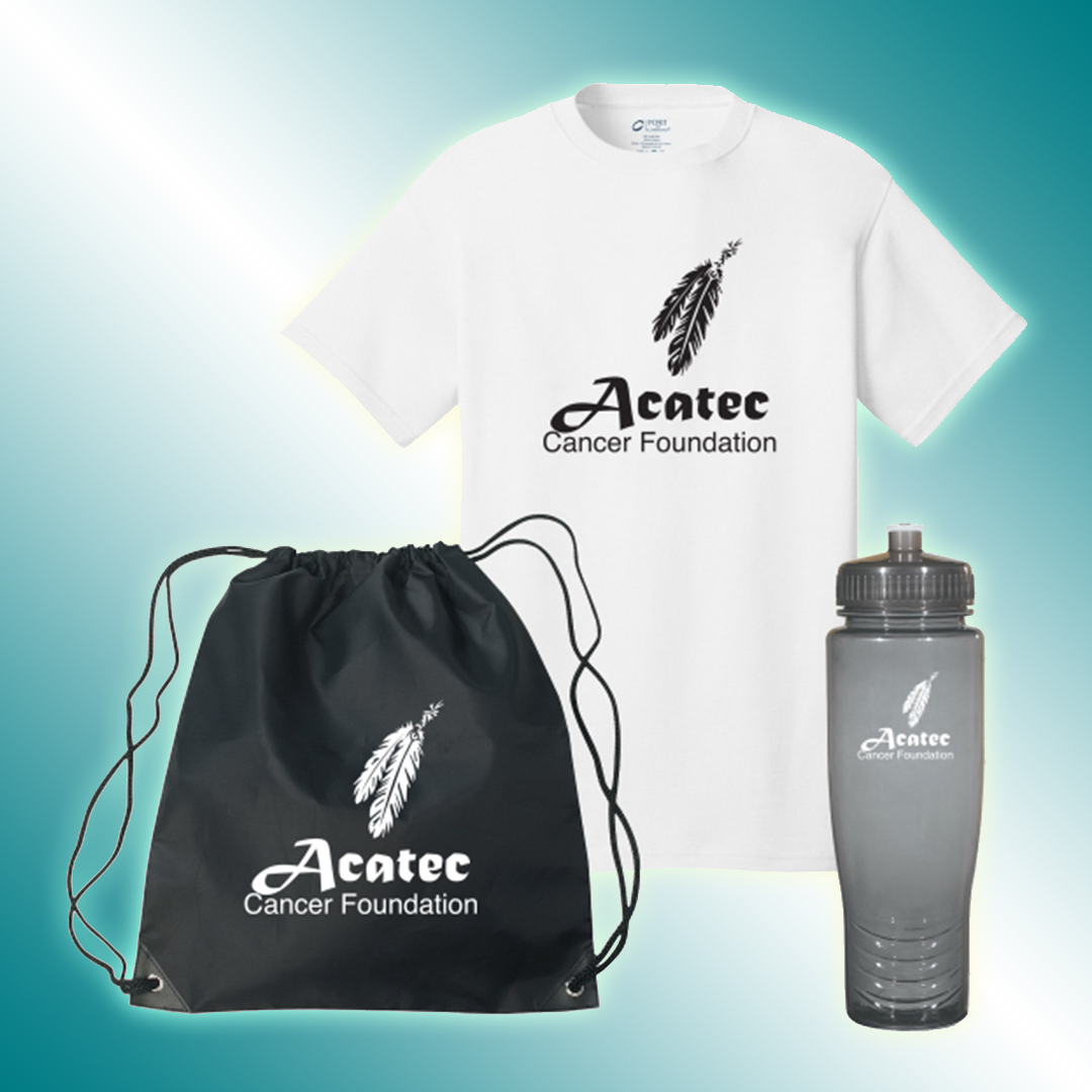 Draw string bag, water bottle and t-shirt with branded logos.