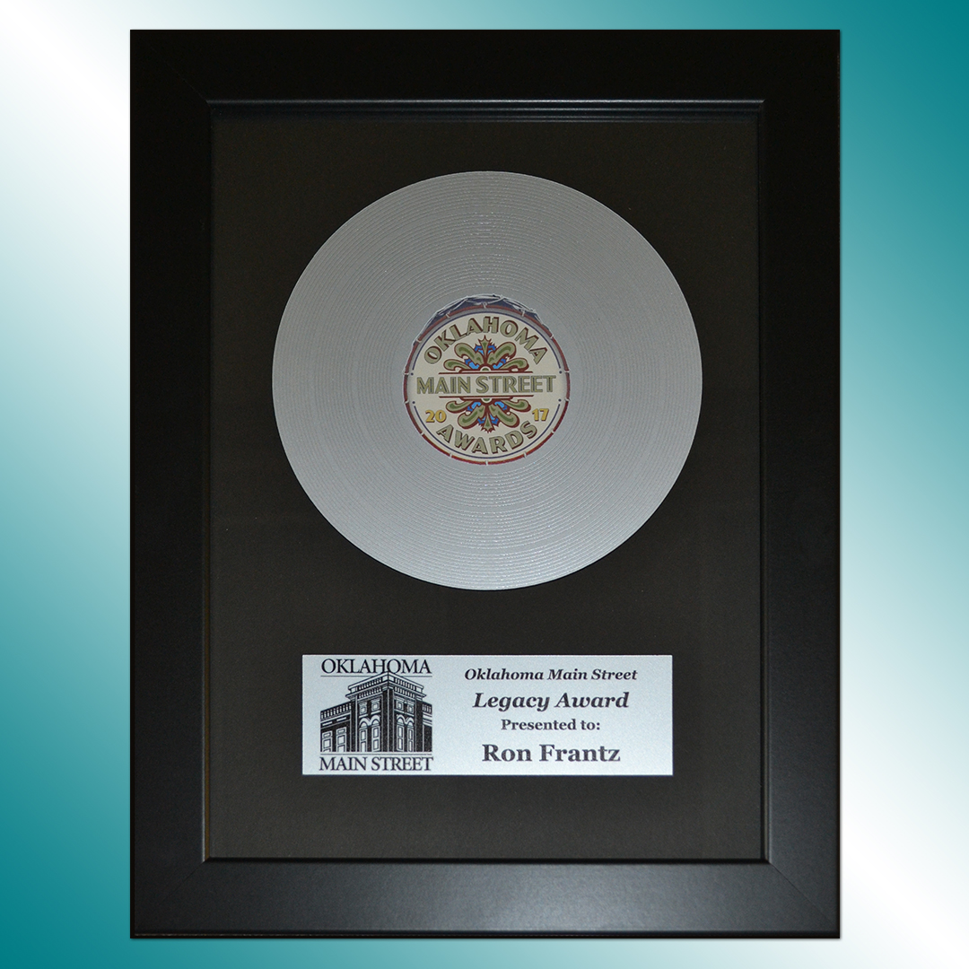 Main Street Award featuring a mock record.