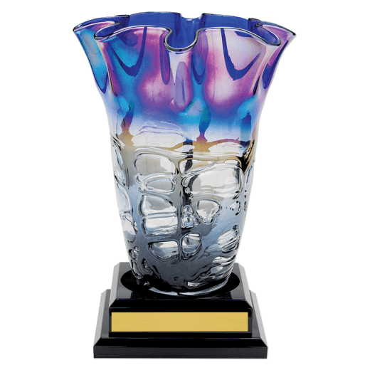 14 inch Art Glass Vase with gold name plate
