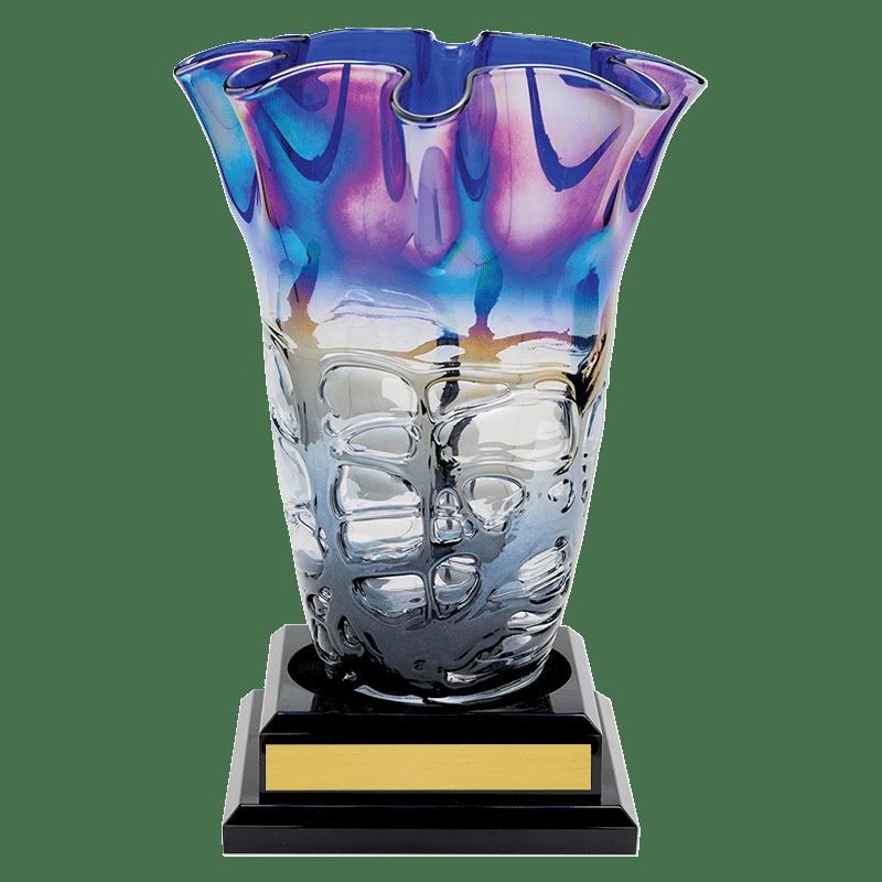 Art glass vase on black base