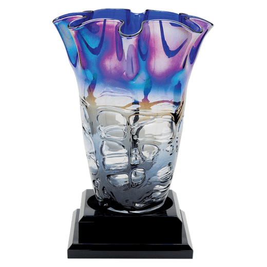 14in. Art Glass Vase with black base, no name plate.