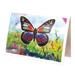 Greeting card with a butterfly on the cover.